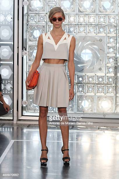 Model walks the runway during the Christine Phung show as part of the Paris Fashion Week Womenswear Spring/Summer 2015 on September 23, 2014 in...
