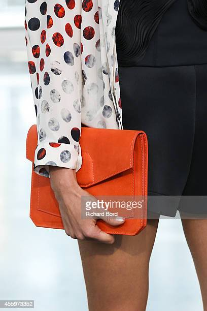 A model walks the runway during the Christine Phung show as part of the Paris Fashion Week Womenswear Spring/Summer 2015 on September 23 2014 at...