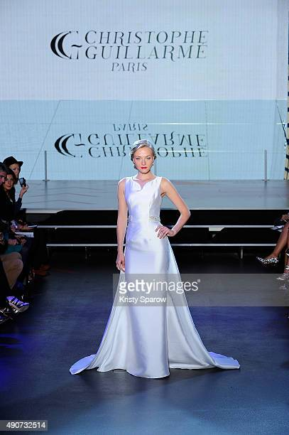Model walks the runway during the Christophe Guillarme show as part of Paris Fashion Week Womenswear Spring/Summer 2016 on September 30, 2015 in...