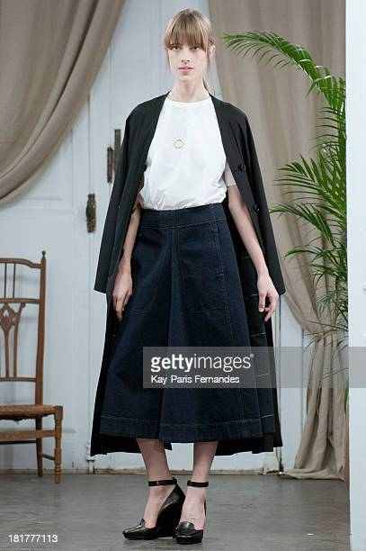 A model walks the runway during the Christophe Lemaire show as part of the Paris Fashion Week Womenswear Spring/Summer 2014 on September 25 2013 in...