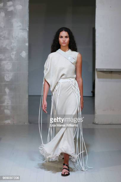 A model walks the runway during the Christopher Esber show at MercedesBenz Fashion Week Resort 19 Collections at MCM House on May 16 2018 in Sydney...
