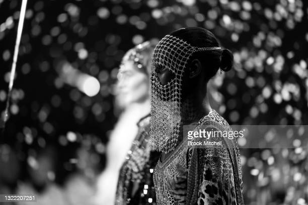 Model walks the runway during the Christopher Esber show during Afterpay Australian Fashion Week 2021 Resort '22 Collections at Carriageworks on June...