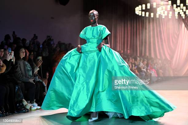 A model walks the runway during the Christopher John Rogers show at Gallery I at Spring Studios on February 08 2020 in New York City