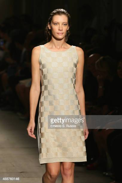 A model walks the runway during the Cividini Show as part of Milan Fashion Week Womenswear Spring/Summer 2015 on September 20 2014 in Milan Italy