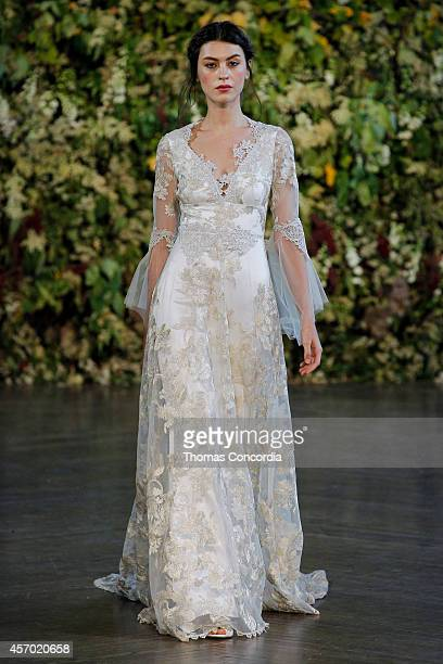 Model walks the runway during the Claire Pettibone Fall 2015 Bridal Collection Show on October 10, 2014 in New York City.