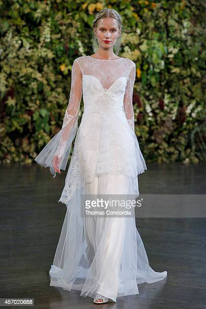A model walks the runway during the Claire Pettibone Fall 2015 Bridal Collection Show on October 10 2014 in New York City