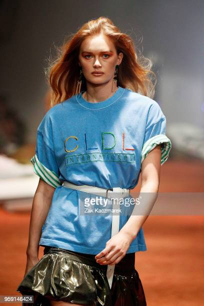 Model walks the runway during the Client Liaison Deluxe Line show at Mercedes-Benz Fashion Week Resort 19 Collections at Overseas Passenger Terminal...