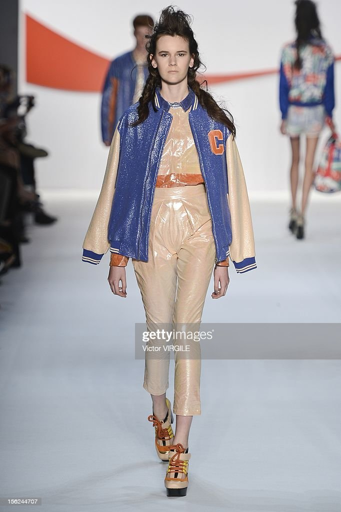 A model walks the runway during the Coca Cola Clothing Fall/Winter 2013 fashion show at Fashion Rio on November 09, 2012 in Rio de Janeiro, Brazil.