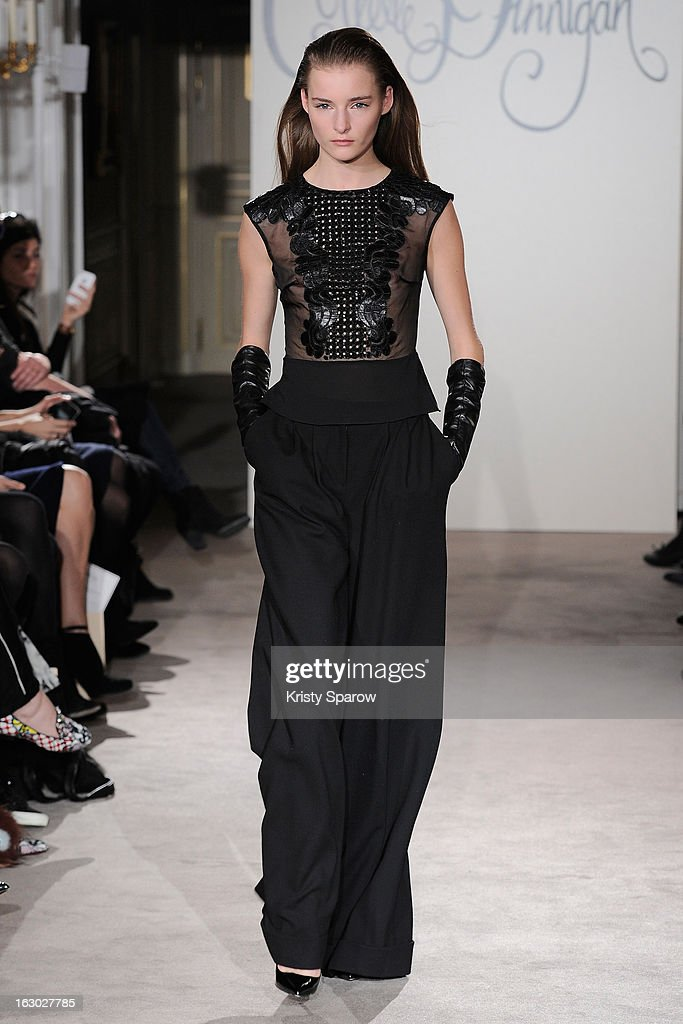 A model walks the runway during the Collette Dinnigan 2013/14 Ready-to-Wear show as part of Paris Fashion Week at Le Meurice on March 3, 2013 in Paris, France.