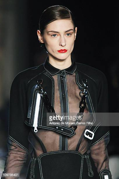 Model walks the runway during the Corrado De Biase Ready to Wear Autumn/Winter 2011/2012 show during Paris Fashion Week at Theatre du Chatelet on...