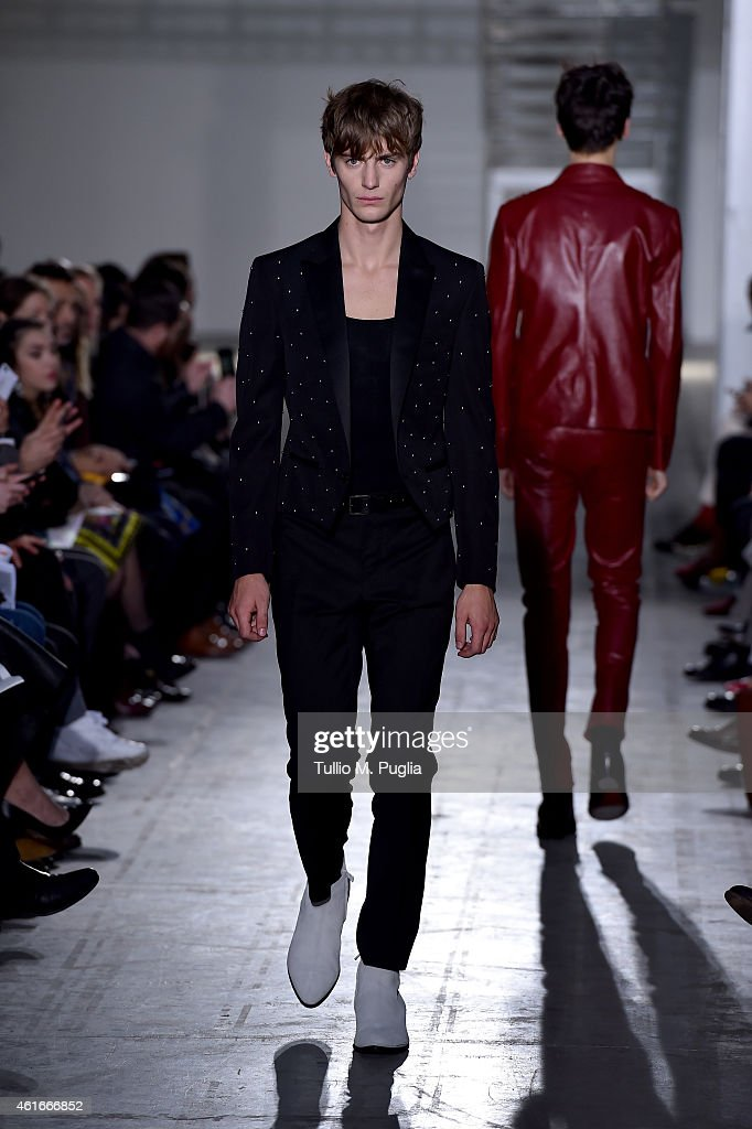 A model walks the runway during the Costume National Show as a part of Milan Menswear Fashion Week Fall Winter 2015/2016 on January 17, 2015 in Milan, Italy.