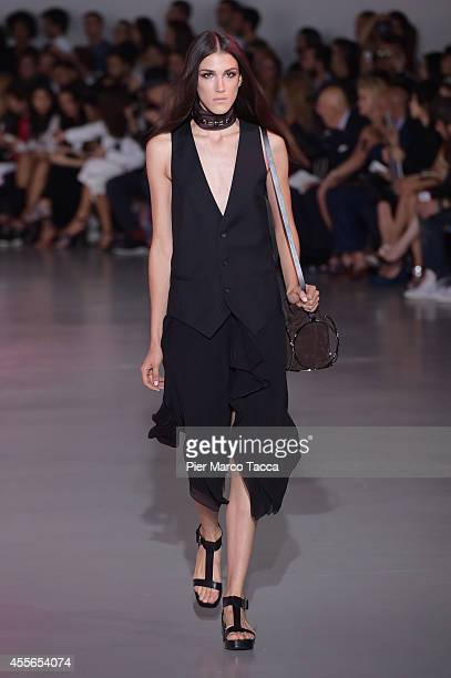 A model walks the runway during the Costume National show as part of Milan Fashion Week Womenswear Spring/Summer 2015 on September 18 2014 in Milan...