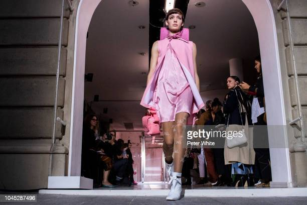 A model walks the runway during the Courreges show as part of the Paris Fashion Week Womenswear Spring/Summer 2019 on September 26 2018 in Paris...