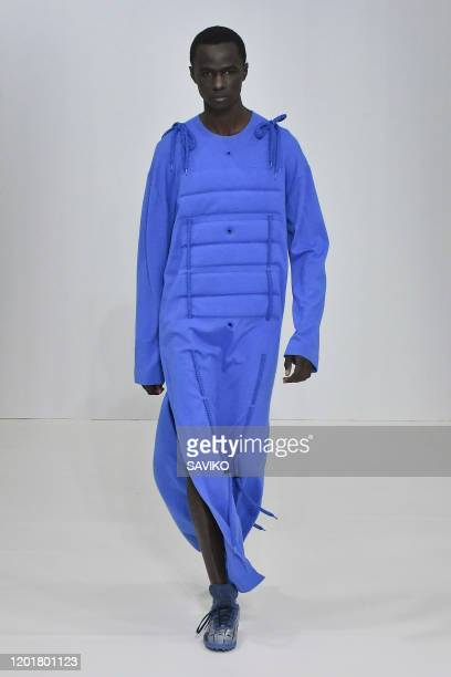 Model walks the runway during the Craig Green Menswear Fall/Winter 2020-2021 fashion show as part of Paris Fashion Week on January 19, 2020 in Paris,...