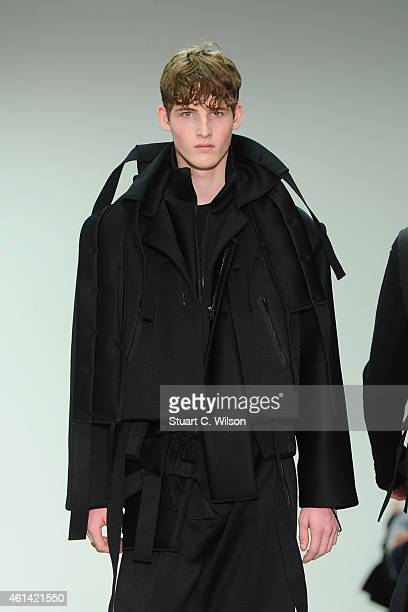 A model walks the runway during the Craig Green show at the London Collections Men AW15 at Victoria House on January 12 2015 in London England