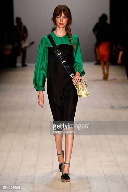 A model walks the runway during the Cynthia Rowley show at MercedesBenz Fashion Week Resort 17 Collections at Carriageworks on May 19 2016 in Sydney...
