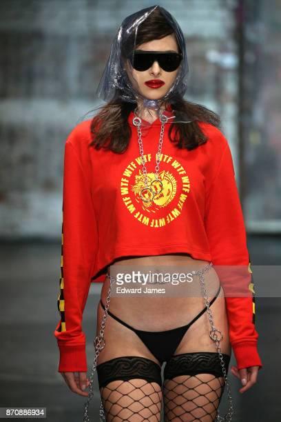 A model walks the runway during the D8 Berdan fashion show at MercedesBenz Fashion Week Tbilisi on November 6 2017 in Tbilisi Georgia