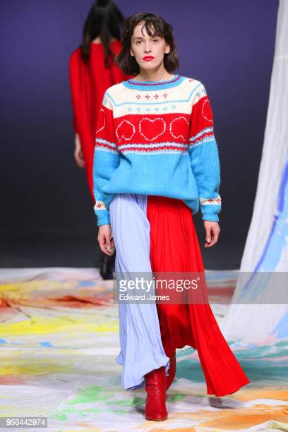 A model walks the runway during the Dalood Fall/Winter 2018/2019 Collection fashion show at MercedesBenz Fashion Week Tbilisi on May 6 2018 in...