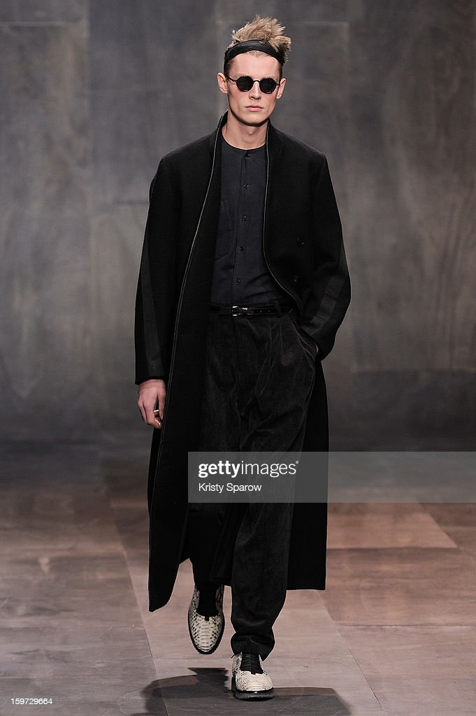 A model walks the runway during the Damir Doma Menswear Autumn / Winter 2013/14 show as part of Paris Fashion Week on January 19, 2013 in Paris, France.