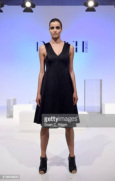 Model walks the runway during the Daneh Presentation at Fashion Forward Fall/Winter 2016 held at the Dubai Design District on April 1, 2016 in Dubai,...
