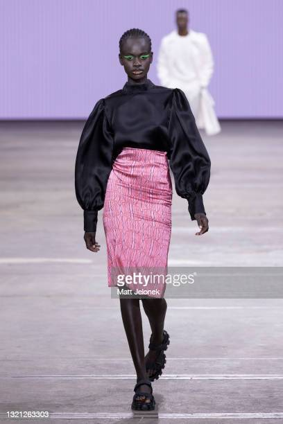 Model walks the runway during the Daniel Avakian show during Afterpay Australian Fashion Week 2021 Resort '22 Collections at Carriageworks on June 2,...