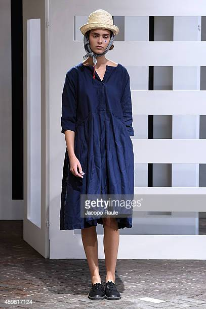 A model walks the runway during the Daniela Gregis fashion show as part of Milan Fashion Week Spring/Summer 2016 on September 24 2015 in Milan Italy