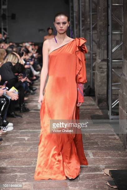 Model walks the runway during the Daniela Villa fashion show at Mercedes Benz Fashion Week Mexico 2018 at Antiguo Colegio de San Ildefonso on October...