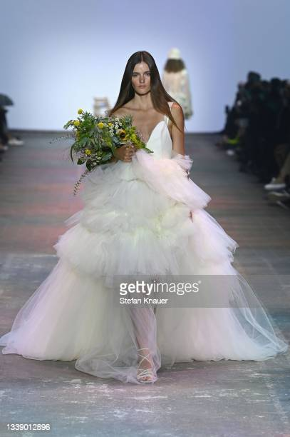 "Model walks the runway during the ""Danny Reinke"" Show at the Mercedes-Benz Fashion Week Berlin September 2021 at Kraftwerk Mitte on September 08,..."