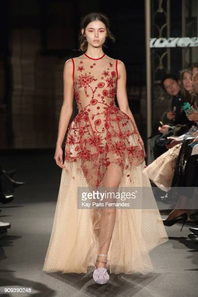 A model walks the runway during the Dany Atrache Spring Summer 2018 show as part of Paris Fashion Week on January 23 2018 in Paris France