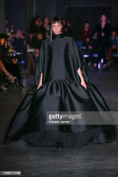 A model walks the runway during the Datuna Spring/Summer 2019 Collection fashion show at MercedesBenz Fashion Week Tbilisi on November 2 2018 in...