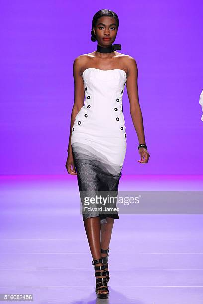 A model walks the runway during the David Dixon fashion show at David Pecaut Square on March 16 2016 in Toronto Canada