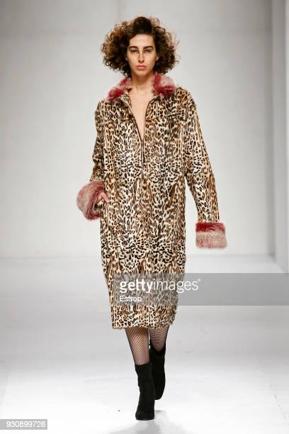 A model walks the runway during the David Ferreira show as part of the Lisboa Fashion Week 'Moda Lisboa' 2018 on March 11 2018 in Lisbon Portugal