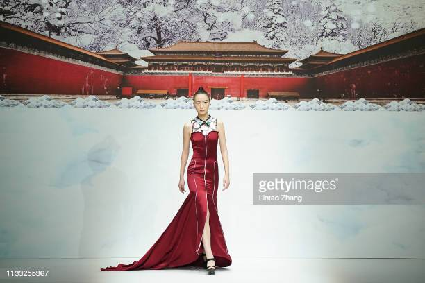 Model walks the runway during the David Sylvia collection show by Chinese designer Hao Weimin at China Fashion Week A/W 2019/2020 on March 28, 2019...