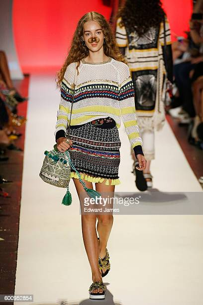 A model walks the runway during the Desigual fashion show at The Arc Skylight at Moynihan Station on September 8 2016 in New York City