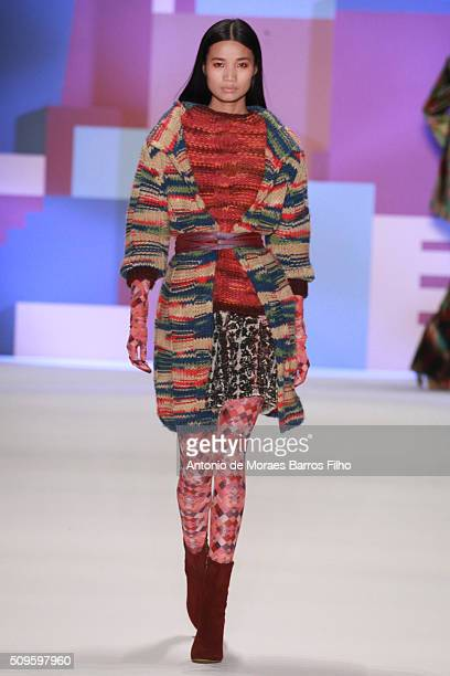 A model walks the runway during the Desigual show as a part of Fall 2016 New York Fashion Week> at The Arc Skylight at Moynihan Station on February...