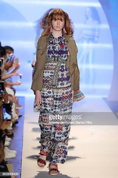 Model walks the runway during the Desigual show as a part of New York Fashion Week at The Arc, Skylight at Moynihan Station on September 8, 2016 in...