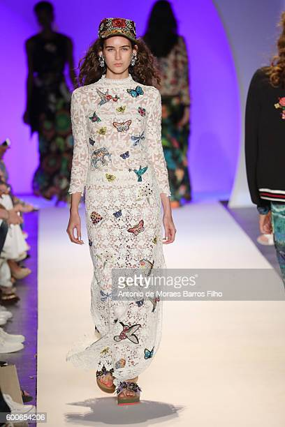 A model walks the runway during the Desigual show as a part of New York Fashion Week at The Arc Skylight at Moynihan Station on September 8 2016 in...