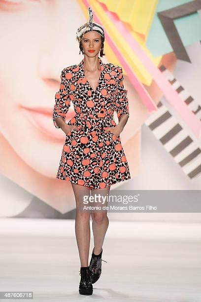 Model walks the runway during the Desigual show as a part of Spring 2016 New York Fashion Week at The Arc, Skylight at Moynihan Station on September...