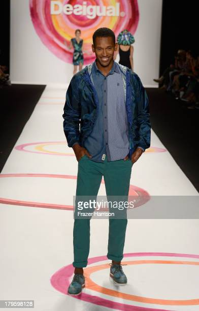A model walks the runway during the Desigual Spring 2014 fashion show at MercedesBenz Fashion Week Spring 2014 Official Coverage Best Of Runway Day 1...