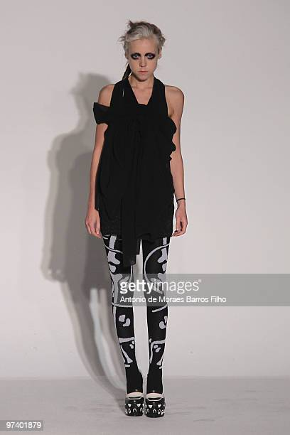 A model walks the runway during the Devastee Ready to Wear show as part of the Paris Womenswear Fashion Week Fall/Winter 2011 at BETC EURO RSCG on...