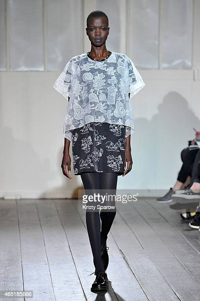 A model walks the runway during the Devastee show as part of Paris Fashion Week Womenswear Fall/Winter 2015/2016 on March 3 2015 in Paris France
