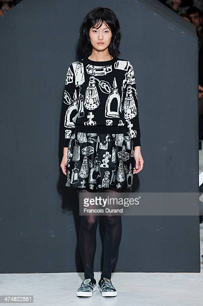 A model walks the runway during the Devastee show as part of the Paris Fashion Week Womenswear Fall/Winter 20142015 on February 25 2014 in Paris...