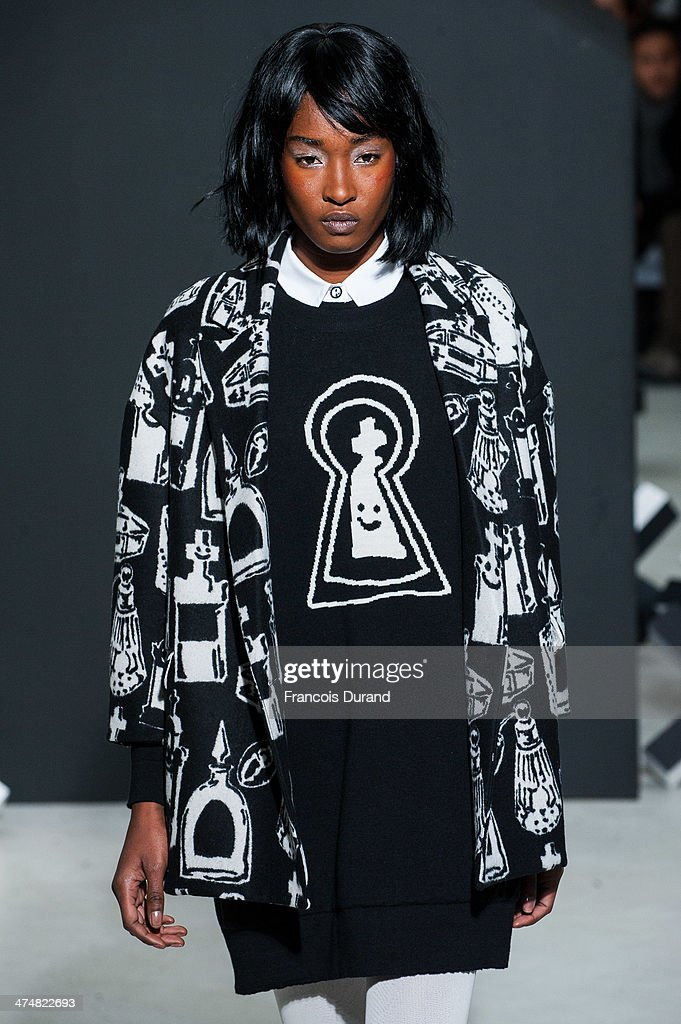 A model walks the runway during the Devastee show as part of the Paris Fashion Week Womenswear Fall/Winter 2014-2015 on February 25, 2014 in Paris, France.