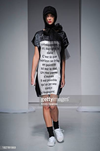 A model walks the runway during the Devastee Spring / Summer 2013 show as part of Paris Fashion Week at Espace Commines on September 26 2012 in Paris...