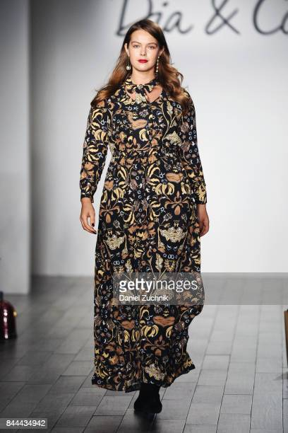 A model walks the runway during the DiaCo fashion show and industry panel at the CURVYcon at Metropolitan Pavilion West on September 8 2017 in New...
