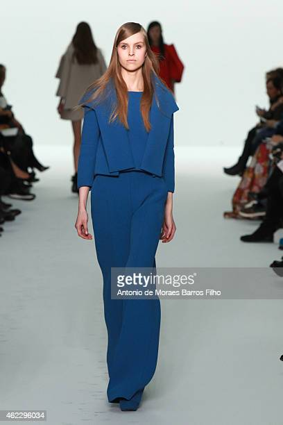 A model walks the runway during the Dice Kayek show as part of Paris Fashion Week Haute Couture Spring/Summer 2015 on January 26 2015 in Paris France