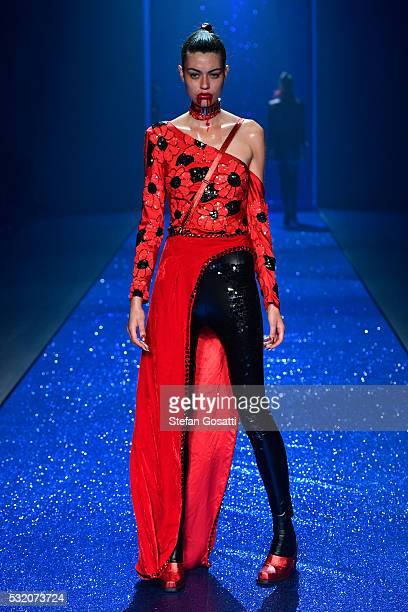 A model walks the runway during the Di$count Universe show at MercedesBenz Fashion Week Resort 17 Collections at Carriageworks on May 18 2016 in...