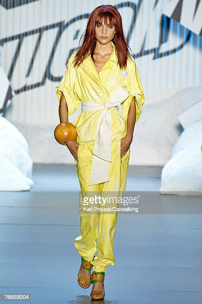 A model walks the runway during the Diesel 2008 Fashion Show at The Promenade in Bryant Park during the MercedesBenz Fashion Week Spring 2008 on...
