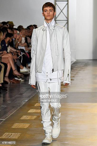 A model walks the runway during the Diesel Black Gold Ready to Wear fashion show as part of Milan Men's Fashion Week Spring/Summer 2016 on June 22...