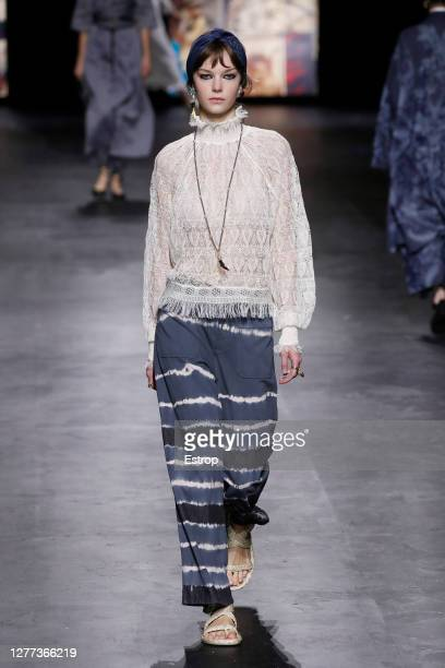 Model walks the runway during the Dior fashion show during Paris Women's Fashion Week Spring/Summer 2021 on September 29, 2020 in Paris, France.